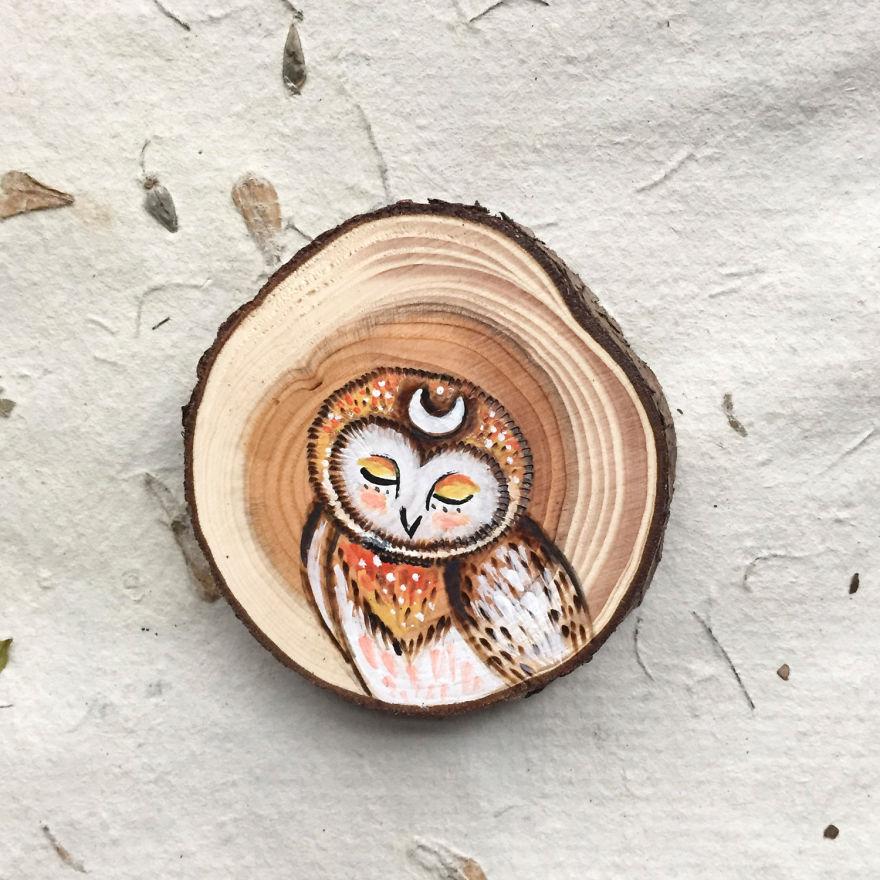نقاشی های کوچک بر روی چوب