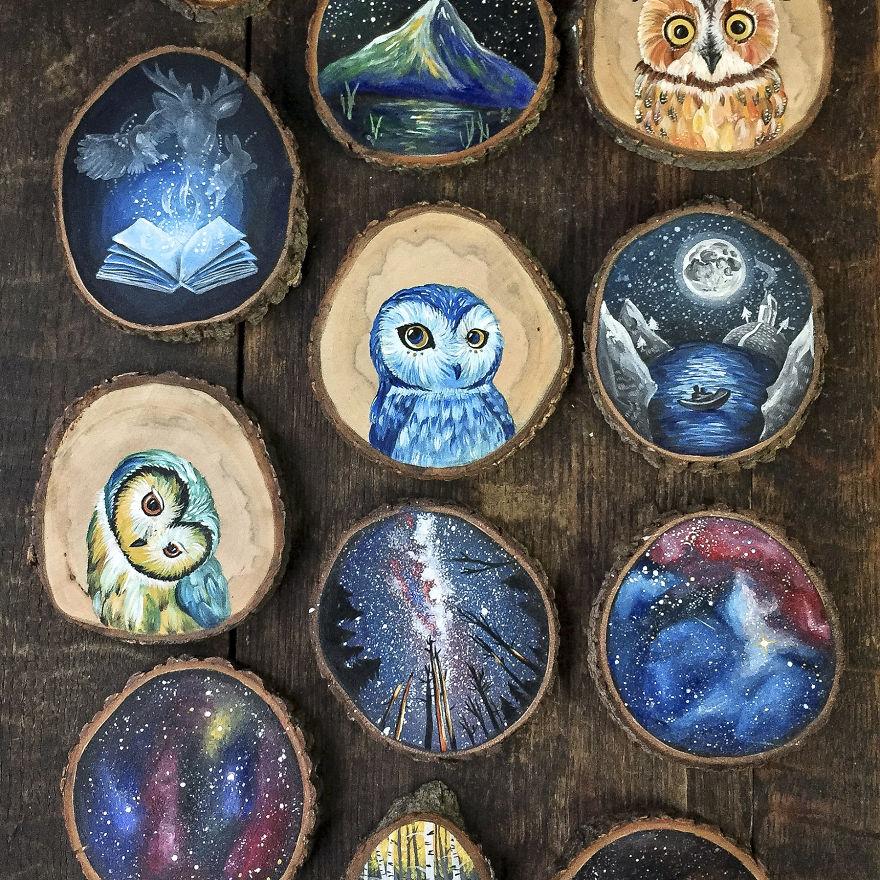 نقاشی های زیبا روی چوب های کوچک