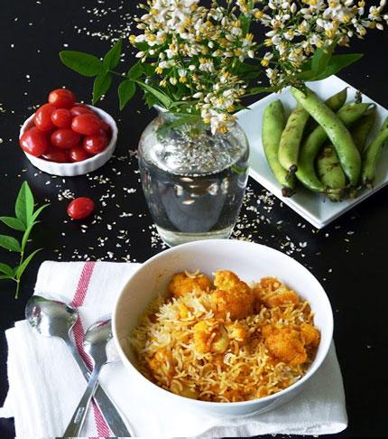 دستور پخت غذا  , طرز تهیه گل کلم پلو با سبزیجات