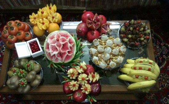 تزیین میوه , تزیینات سفره شب یلدا , میوه آرایی