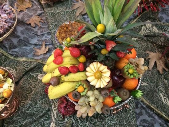 تزیین میوه شب یلدا , تزیین سفره یلدا , میوه آرایی