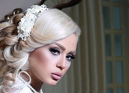 آرایش موی عروس ,میکاپ عروس,شینیون موی عروس ,آرایش چهره عروس