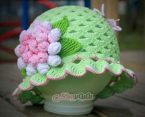 کلاه دخترانه - کلاه دستباف دخترانه - مدل کلاه پره دار بافتنی