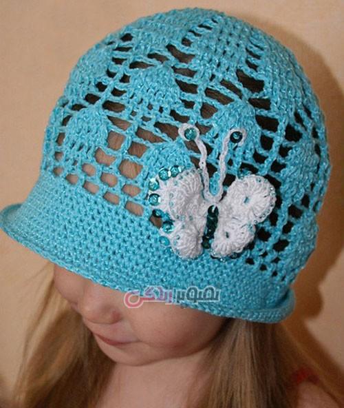 مدل کلاه بافتنی دخترانه - کلاه قلاب بافی دخترانه