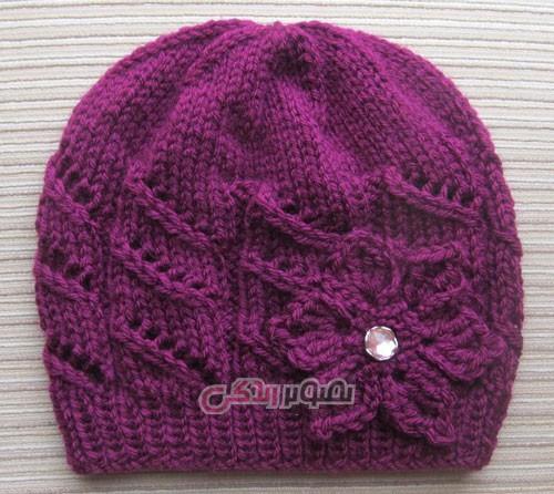 مدل کلاه بافتنی دخترانه - کلاه دستباف - کلاه کاموایی