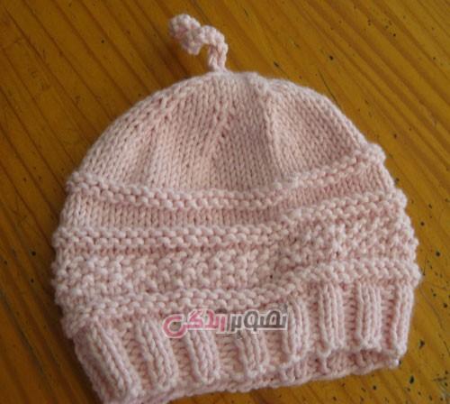 مدل کلاه ساده بافتنی - کلاه دخترانه بافتنی دو میل