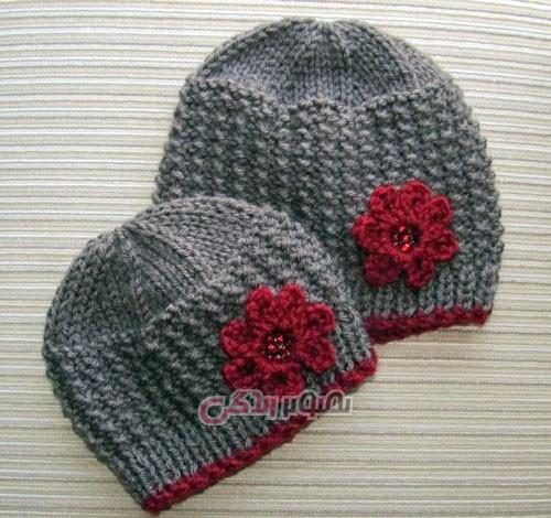 مدل کلاه دخترانه دستباف - کلاه دخترانه بافتنی دو میل