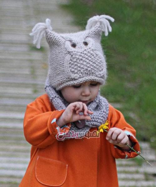 کلاه با طرح جغد - کلاه بافتنی - کلاه دست باف
