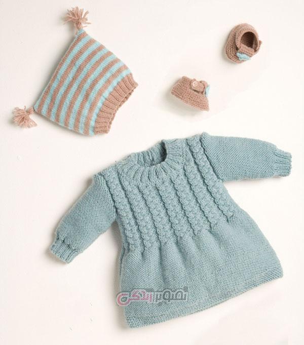 مدل پیراهن بافتنی - لباس بافتنی - لباس بچگانه زمستانی
