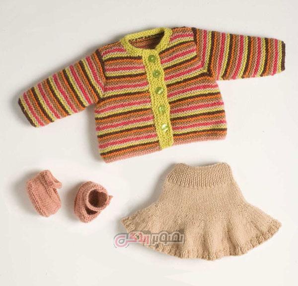 ست لباس بافتنی بچگانه - لباس بچگانه دست باف