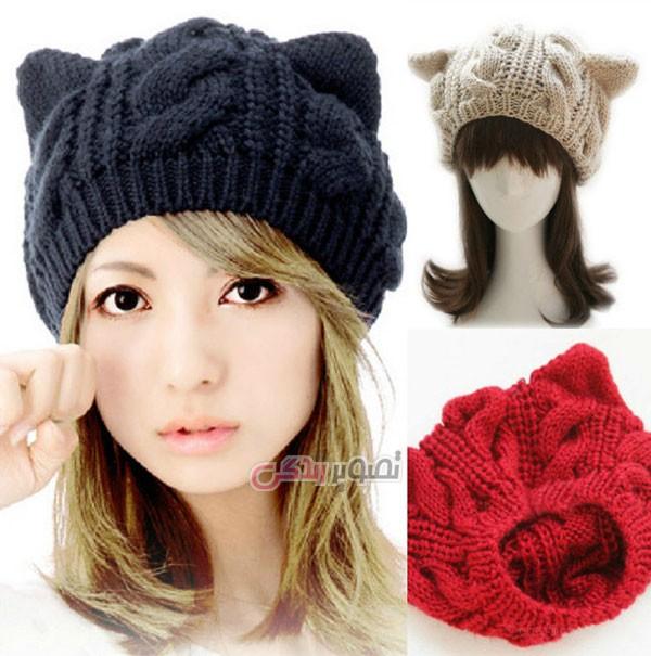 مدل کلاه بافت دو میل زنانه - کلاه دستباف زنانه