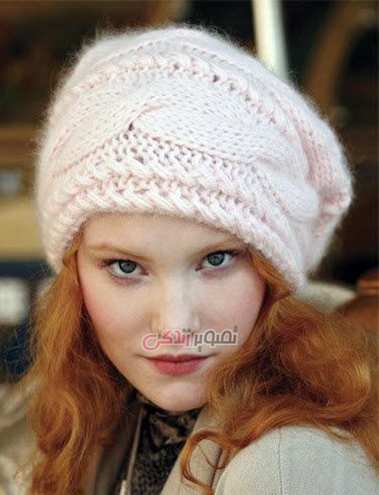 کلاه زنانه بافت دو میل , کلاه دستباف دخترانه