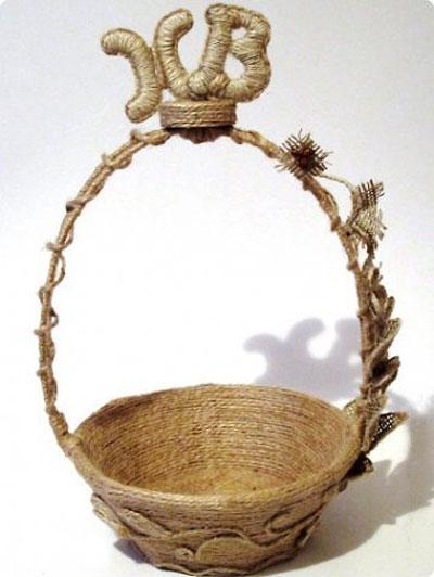 کاردستی کنفی , آموزش تصویری ساخت سبد کنفی