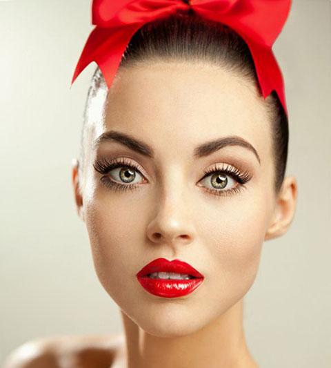 آرایش با رژ قرمز , میکاپ , مدل جدید آرایش