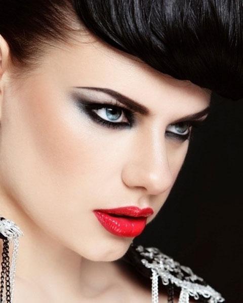 مدلهای جدید آرایش با رژ لب قرمز , میکاپ چهره