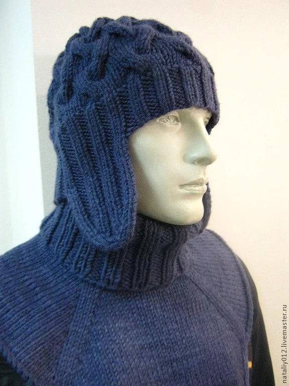 کلاه گوشی دار بافتنی با دو میل