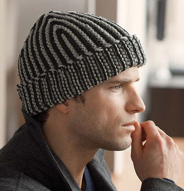 کلاه قلاب بافی مردانه دو رنگ