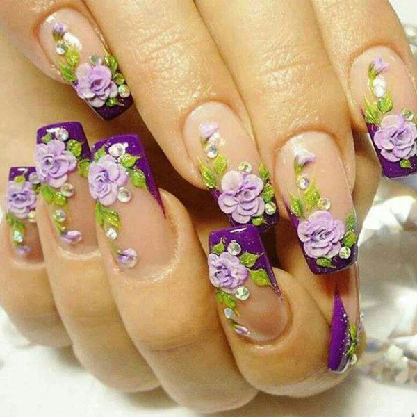 مدل دیزاین ناخن طرح گل - نقاشی روی ناخن