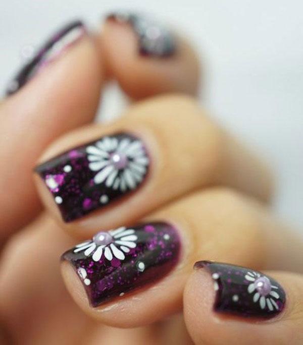 طراحی روی ناخن - دیزاین ناخن - طرح گل روی ناخن