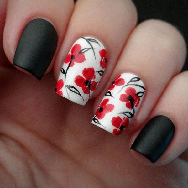 دیزاین ناخن - نقاشی طرح گل روی ناخن