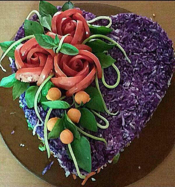 تزیین سالاد کاهو - تزیین سالاد شیرازی - تزئین سالاد سبزیجات