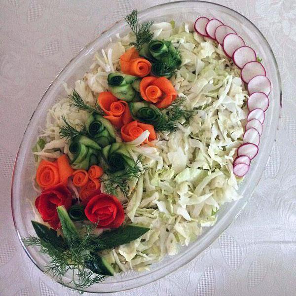 تزیین سالاد کاهو - تزیین سالاد شیرازی - تزیین سالاد سبزیجات