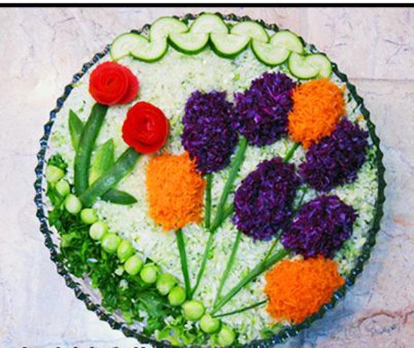 تزئین سالاد کاهو - تزئین سالاد شیرازی - تزئین سالاد سبزیجات