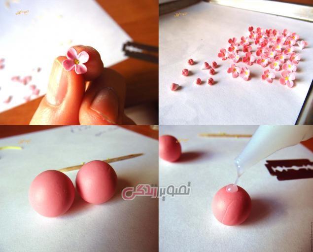 آموزش ساخت گوشواره گل با خمیر چینی ، زیور آلات با خمیر فیمو