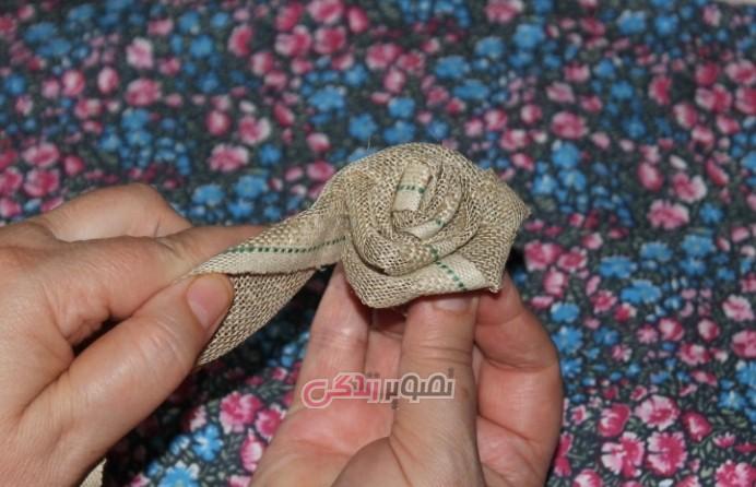 آموزش درست کردن گل رز با گونی کنفی