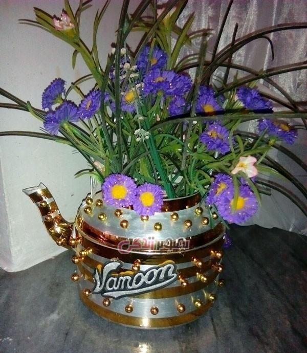 ساخت گلدان تزیینی از قوری فلزی قدیمی