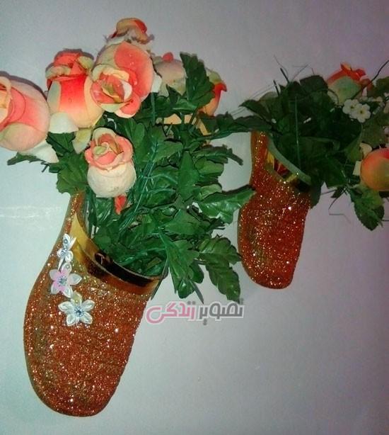 ساخت گلدان دیواری با دمپایی پلاستیکی