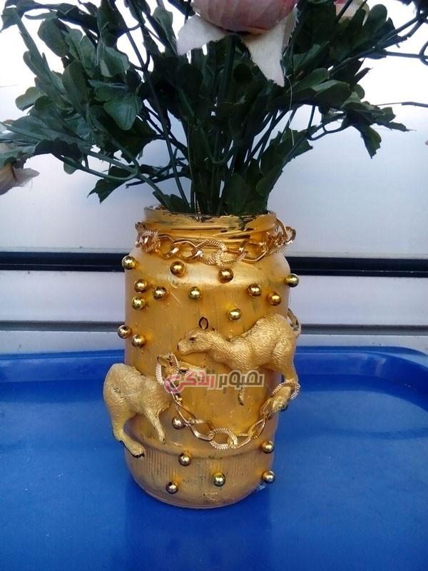 آموزش تصویری ساخت گلدان تزیینی با شیشه خالی