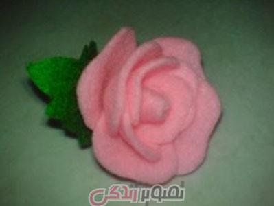 ساخت گل رز با پارچه فوتر ,  گل رز نمدی