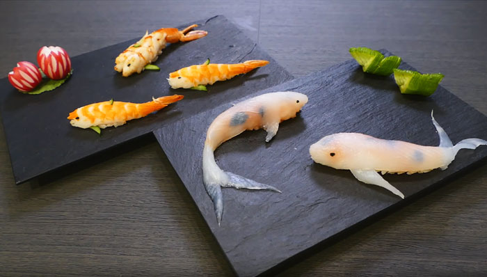 تزیین سوشی توسط هنرمند ژاپنی