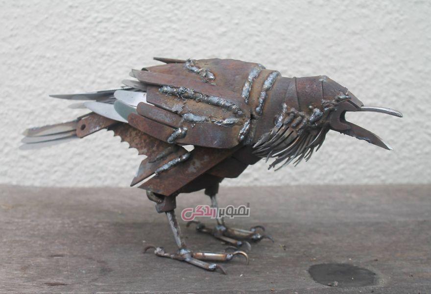 تبدیل ضایعات فلزی به مجسمه های زیبای حیوانات