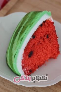 تزیین کیک به شکل هندوانه - کیک هندوانه ای