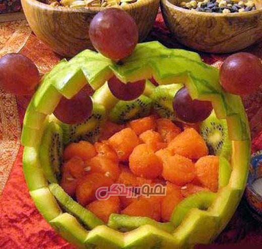 تزیین هندوانه شب یلدا , میوه آرایی , شب چله