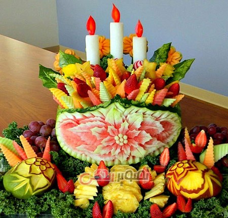 میوه آرایی ,تزیین میوه شب یلدا , تزیین هندوانه