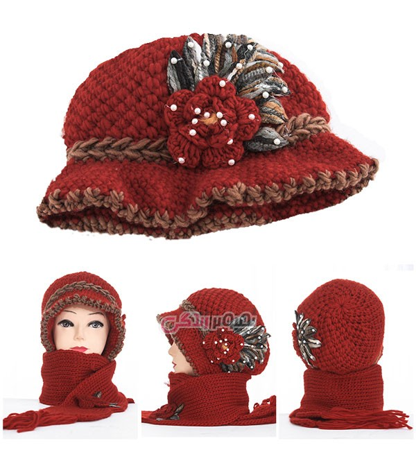 شال و کلاه بافتنی دخترانه - شال و کلاه دستباف