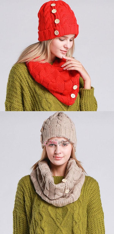 مدل شال و کلاه دخترانه - کلاه بافتنی - شال بافتنی