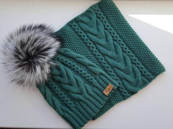 شال و کلاه بافتنی سبز لجنی