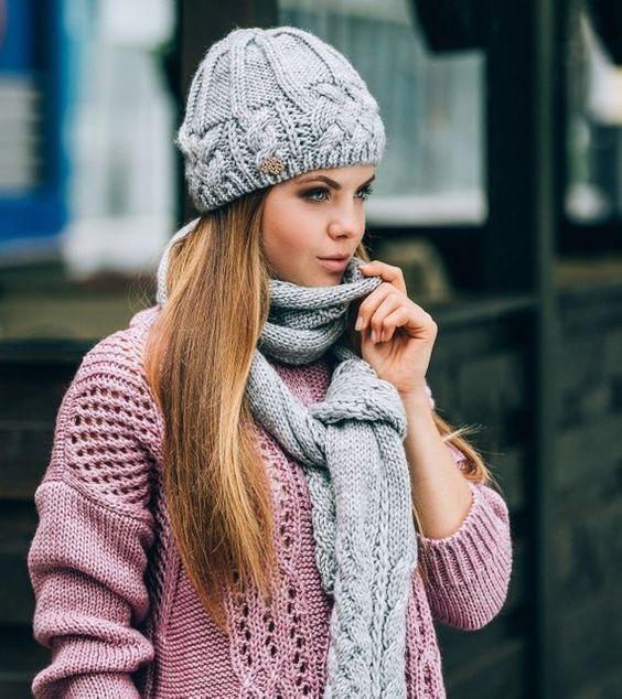 شال و کلاه دخترانه طوسی رنگ