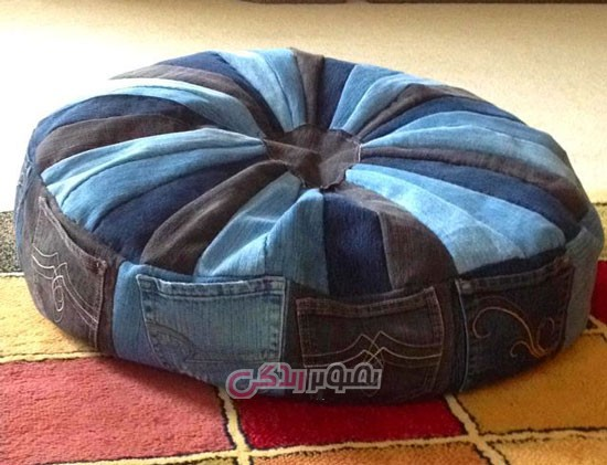 کوسن های زیبا از جین قدیمی و تکه پارچه اضافی