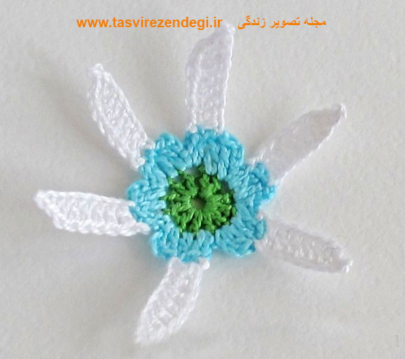 گل سینه قلاب بافی , آموزش قلاب بافی , گل قلاب بافی , بافت گل