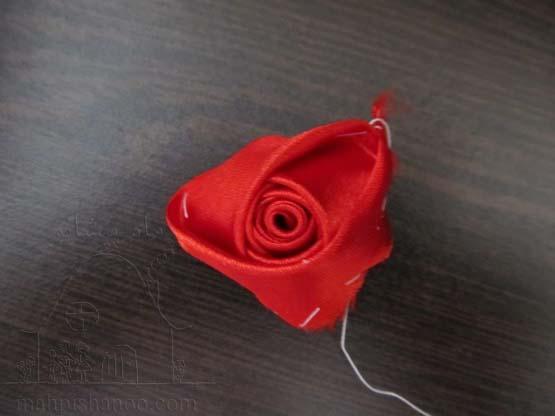 غنچه رز روبانی , آموزش روبان دوزی , ساخت گل رز با روزبان