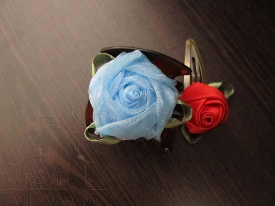آموزش گل سازی  , آموزش ساخت غنچه رز روبانی / تزیین گیره سر