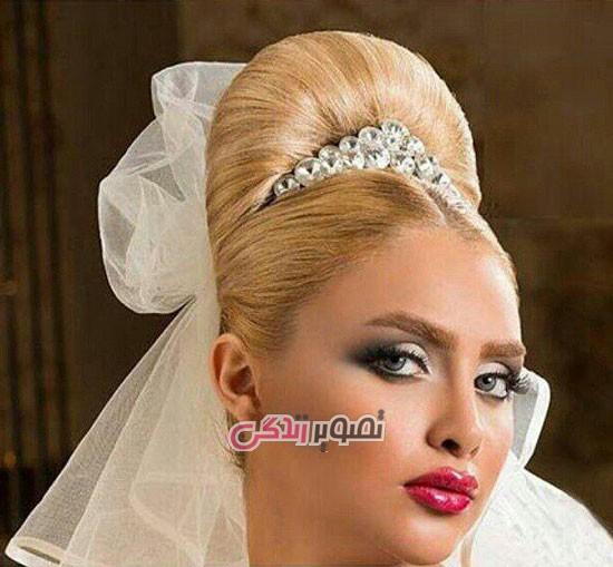 آرایش صورت عروس , شینیون موی عروس , مدل تاج عروس