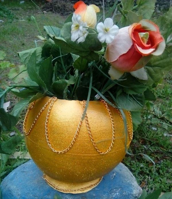 آموزش ساخت گلدان با توپ پلاستیکی , هنر بازیافت