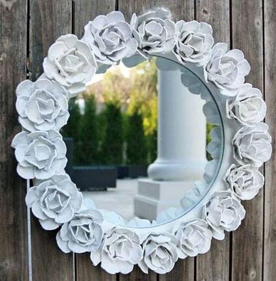 تزیین آینه با گل , ساخت گل با شانه تخم مرغ
