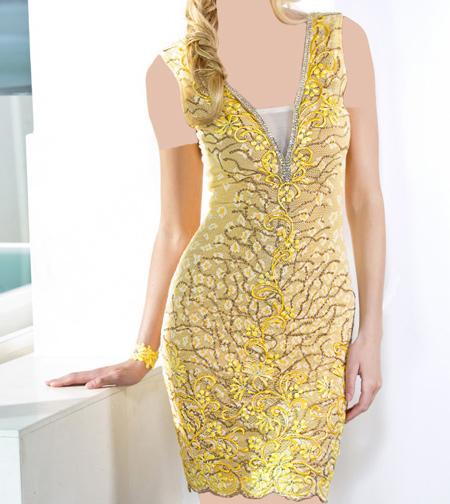 مدل لباس مجلسی دکلته نقش دار